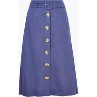 MandS Collection Linen Button Front Belted Midi A-Line Skirt