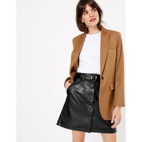 MandS Collection Button Front A-Line Mini Skirt
