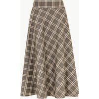 M&S Collection Checked A-Line Midi Skirt