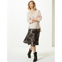 M&S Collection Printed Jersey Pleated Midi Skirt