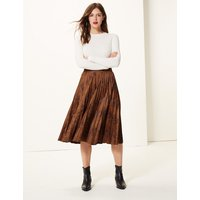 M&S Collection Animal Print Jersey Pleated Midi Skirt