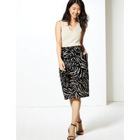 MandS Collection Cotton Rich Animal Print Pencil Skirt