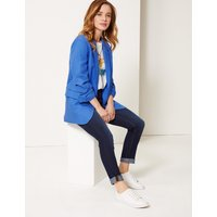 MandS Collection PETITE Linen Blend Open Front Blazer