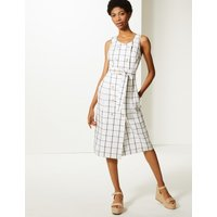 M&S Collection Pure Linen Checked Midi Relaxed Dress