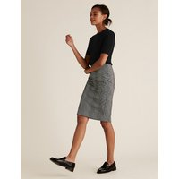 MandS Collection Jersey Checked Knee Length Pencil Skirt