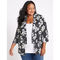 M&S Collection CURVE Floral Print 3/4 Sleeve Blazer
