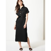 M&S Collection Linen Blend Midi Shirt Dress