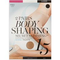 M&S Collection 2 Pair Pack 15 Denier Secret Slimming Shine Body Shaper Tights