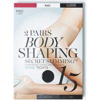 M&s Collection 2 Pair Pack 15 Denier Secret Slimming Shine Body Shaper Tights