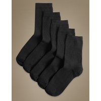 M&S Collection 5 Pair Pack Cotton Rich Ankle High Socks at Marks and Spencer Online