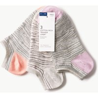 M&S Collection 3 Pair Pack Animal Print Trainer Liner Socks