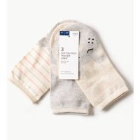 M&S Collection 3 Pair Pack Cotton Rich Trainer Liner Socks