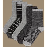 M&S Collection 5 Pair Pack Ankle High Socks
