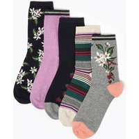 M&S Collection 5 Pack Cotton Rich Ankle High Socks