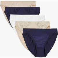 M&S Collection 5 Pack Cotton Rich Lace High Leg Knickers