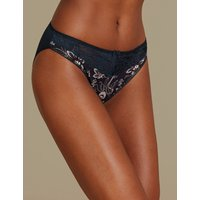 M&S Collection Printed Jacquard & Lace High Leg Knickers