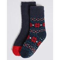 2 Pairs Of Fairisle Cosy Socks (1-14 Years)