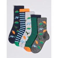 5 Pairs of Dinosaur Socks (1-14 Years)