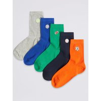 5 Pairs of Embroidered Sport Socks
