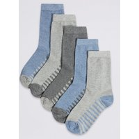 5 Pairs of Cotton Rich Ankle Socks