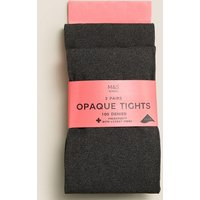 2 Pairs of Tights 100 Denier with Freshfeet (6-14 Years)