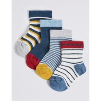 4 Pairs Of Striped Socks With Staysoft (0-24 Months)