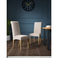 M&S Set of 2 Hepworth Striped Dining Chairs - 1SIZE - Neutral, Neutral