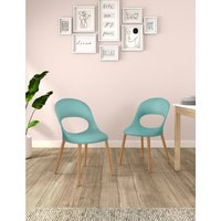 Set of 2 Curved Back Dining Chairs blue