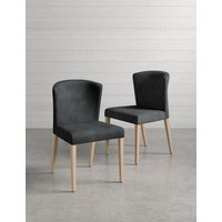 M&S Set of 2 Curved Back Dining Chairs - 1SIZE - Grey, Grey