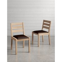 Set of 2 Sonoma Blonde Leather Dining Chairs