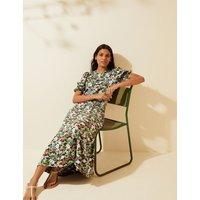 M&S X Ghost Womens Floral Puff Sleeve Midi Tea Dress - 14REG - Multi, Multi