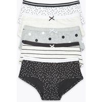 5 Pack Cotton Spot Print Shorts (6-16 Years)