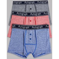 Autograph 3 Pack Cotton with Stretch Striped Trunks (6-16 Years)