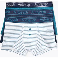 Autograph 3 Pack Cotton with Lycra Grid Checked Trunks (6-16 Years)
