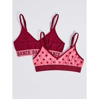 2 Pack Stars & Dance Cropped Tops (6-16 Years)