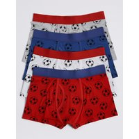 4 Pack Cotton Football Print Trunks with Stretch (18 Months - 16 Years)