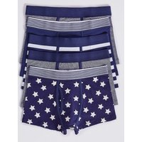 5 Pack Cotton Trunks With Stretch (2-16 Years)