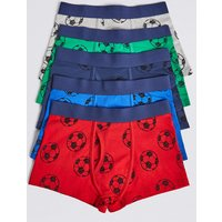 5 Pack Cotton with Stretch Football Trunks (18 Months - 12 Years)