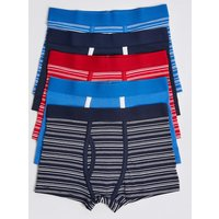 5 Pack Cotton with Stretch Striped Trunks (18 Months - 16 Years)