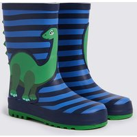 Kids' Dinosaur Striped Wellies (5 Small - 12 Small)