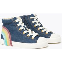 Kids' Denim Rainbow High Top Trainers (5 Small - 12 Small)