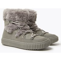 Kids Faux Fur Lace Up Snow Boots (13 Small - 6 Large)