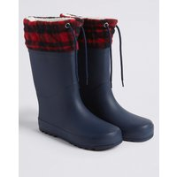 Kids' Checked Wellies (13 Small - 6 Large)