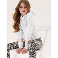M&S Girls Cotton Long Sleeve Hoodie (6-16 Yrs) - 7-8 Y - Grey Marl, Grey Marl