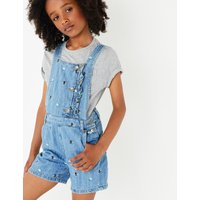 Pure Cotton Embellished Denim Short Dungarees (3-16 Years)