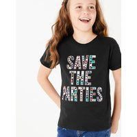 Cotton Save the Parties Slogan T-Shirt (3-16 Years)