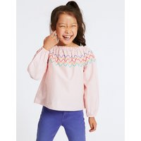 Pure Cotton Zig Zag Bardot Top (3-16 Years)
