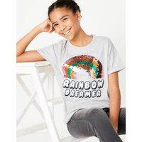 Cotton Rich Rainbow Sequin T-Shirt (6-16 Years)
