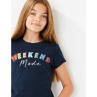 Cotton Weekend Slogan T-Shirt (6-16 Years)