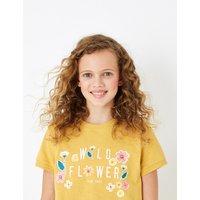 Cotton Wild Flower Slogan T-Shirt (6-16 Years)